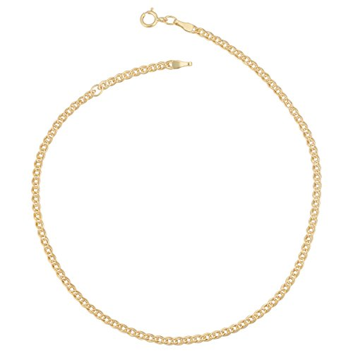 Kooljewelry 10k Yellow Gold 2.3 mm Link Chain Anklet (adjusts to 9 or 10 inch) ()