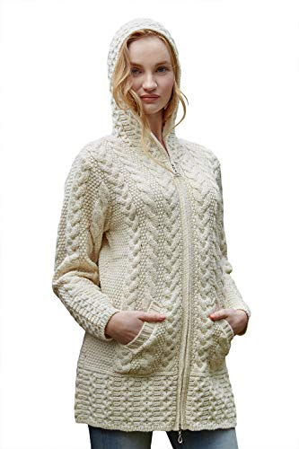 (100% Irish Merino Wool Ladies Hooded Aran Zip Sweater Coat, Natural, Small)