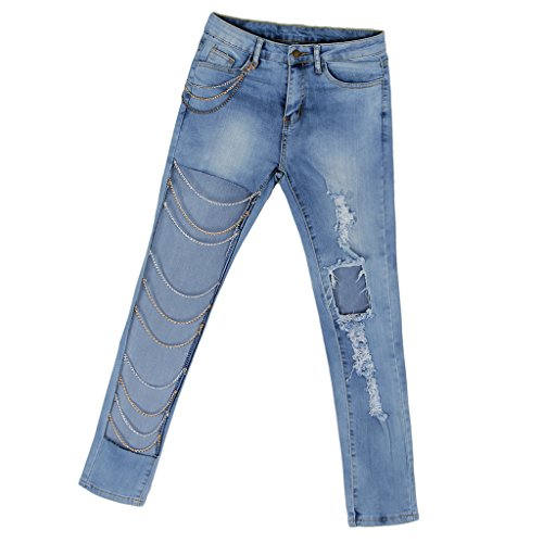 Femme Trous S Skinny Boyfriend Baoblade avec Pantalon Slim Cha Jean 2XL Trous Dchir Bleu ne EwIqC