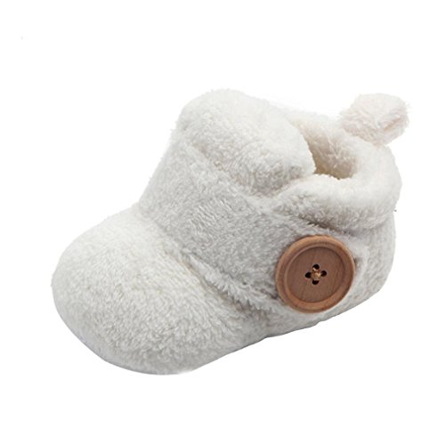 Witspace Newborn Infant Baby Boys Girls Winter Warming Booties Toddler Kids Soft Sole Prewalker Shoes (0-6 Months, White) (Booties Girls White)