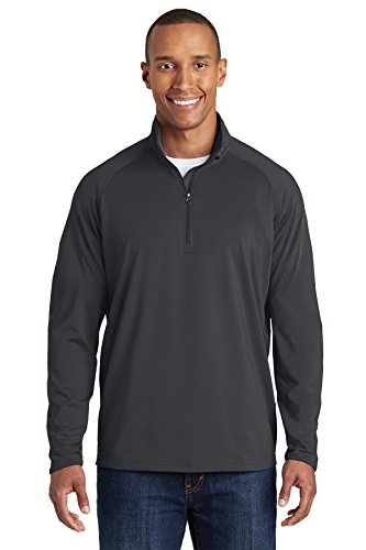 Sport-Tek Men's Sport Wick Stretch 1/2 Zip Pullover L Charcoal Grey from Sport-Tek