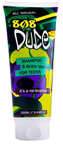 808Dude Shampoo and Body Wash for Teen Boys and Men. Pure Organic Safe Natural Ingredients Clear Body Odor and Prevent Breakouts with Essential Oils for Memory Focus & Anti-Anxiety Support 8.45 fl oz (Best Body Wash For Tweens)