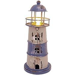 "7.2"" High Metal Nautical Lighthouse Tea Light Wedding Lamp with Flameless LED light (Blue)"