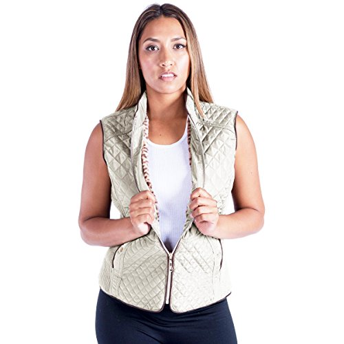 Beige Womens Quilted Vest (Eurogarment Women Lightweight Sleeveless Quilted Vest Zip up Leopard Lining Design Padded Vest)