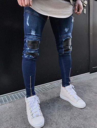 Pantaloni Slim Con Blau Abbigliamento Distrutti Chern Jeans Snap In Streetwear Da Patchwork Skinny Denim Aderenti Hiphop Fori Moto Uomo x6WHYg