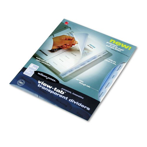 Wilson Jones 55068 View-Tab Transparent Index Dividers, 8-Tab, Rectangle, Letter, Clear by Wilson Jones