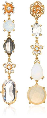 Earrings Linear Crystal Drop - Badgley Mischka Women's Asymmetrical Champagne Crystal Linear Gold Drop Earrings, One Size