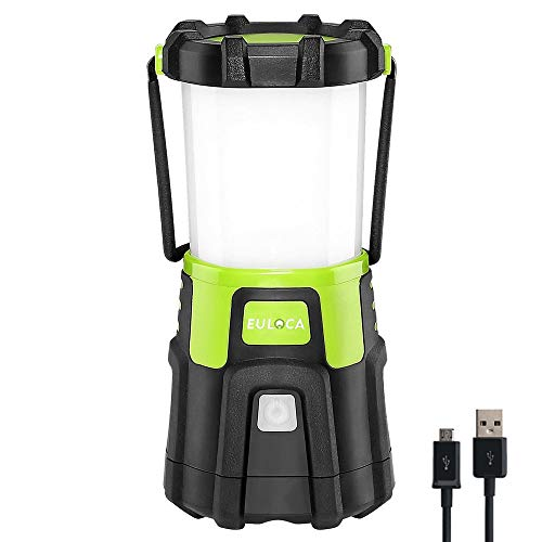 EULOCA Rechargeable LED Camping Lantern, Super Bright 1200lm Dimmable, 4 Lighting Modes, 4400mAh, Portable Tent Light with USB Cable for Outdoor, Hiking, Fishing, Emergency and More