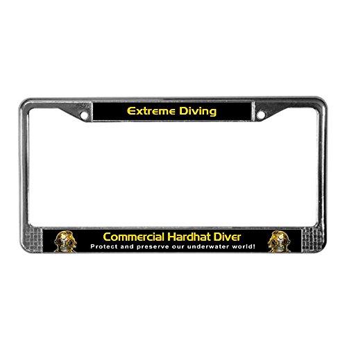 Commercial License - CafePress - Commercial Hardhat Diver, License Plate Frame - Chrome License Plate Frame, License Tag Holder