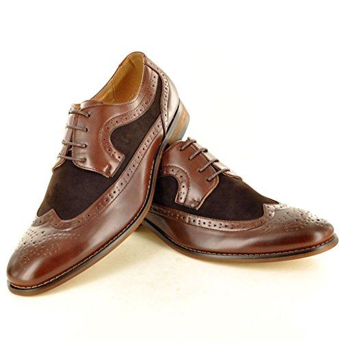 lacci in da foderate uomo modello Dark Brown eleganti Brogue Scarpe bicolore con pelle 0ZvBOqq