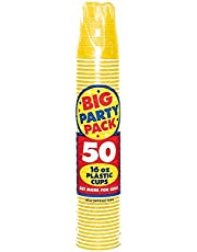 Amscan Big Party Pack 50 Count Plastic Cups, 16-Ounce, Sunshine Yellow