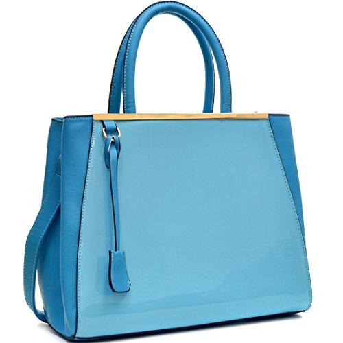 - Dasein Structured Satchel Briefcase Handbag, Tadblet, iPad Bag - Turquoise Blue