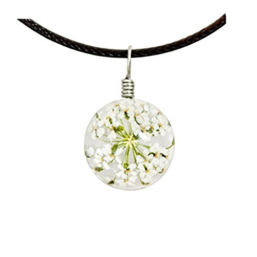 White lace necklace with genuine vintage jade charm. Real flower necklace for Flowers Jade Necklace