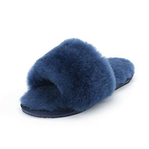 Pluizig Wollen Vacht Huis Slippers Schapenvacht Slippers Bont Pantoffels Huis Schoenen Lamsvacht Slippers Marine Blauw