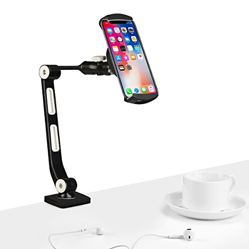 suptek 360 Degree Adjustable Stand/Holder with Clamp for Tablets & iPad iPhone Samsung Asus Tablet Smartphone and more up to 13 inches Black YF208B by suptek (Image #3)