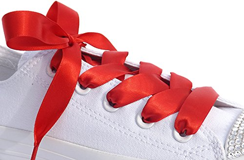 Red Flat Satin Ribbon Shoelaces, Shoe Laces For Kids, Youths & Womens Converse All Star Sneakers