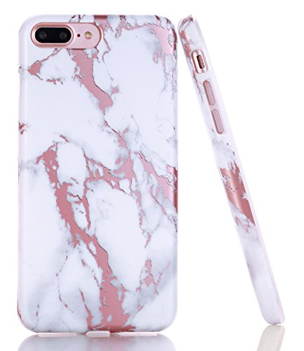 iPhone 7 Plus Case, Shiny Rose Gold White Marble Design, BAISRKE Clear Bumper Matte TPU Soft Rubber Silicone Cover Phone Case for Apple iPhone 7 Plus & iPhone 8 Plus [5.5 inch] by BAISRKE (Image #8)