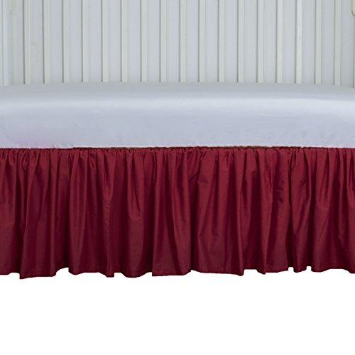(Cute Cribskirt in RED 15 inch long Crib Dust ruffle, Gathered)