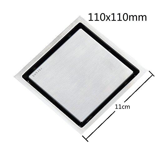 Nickel Shower Drain (110x110mm 304 Stainless Steel Tile Insert Invisible Bathroom Shower Floor Drain Brushed Nickel ¡)