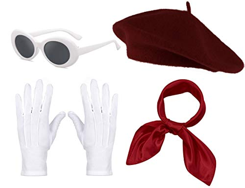 Fancy Clothing Womens French Beret Hat Chiffon Scarf Gloves Sunglasses Costume Accessories (Wine)