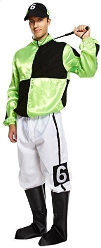 Mens Adult Green 4 Piece Jockey Horse Racing Uniform Sports Fancy Dress Costume Outfit (STD) by Fancy (Horse And Jockey Fancy Dress Costume)