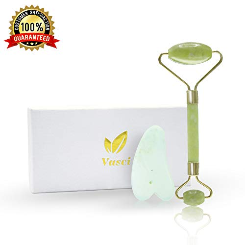 Jade Roller Face Massage & Gua Sha Scrapping Tool by Vasci | Premium Quality 100% Himalayan Jade Stone Face Roller | Anti Aging Natural Healing Reduces Wrinkles & Eye Puffiness Skin Care Set