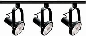 Nuvo Lighting TK317 3-Light PAR30 Short Neck Gimbal Ring Track Light Kit, Black