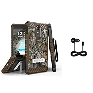 Beyond Cell Tri-Shield Holster Case Bundle Compatible with ZTE Blade Spark, ZTE ZMAX One, Grand X 4 [Real Tree Camo] with Cellet 3 Foot Type-C Car Charger, Atom LED