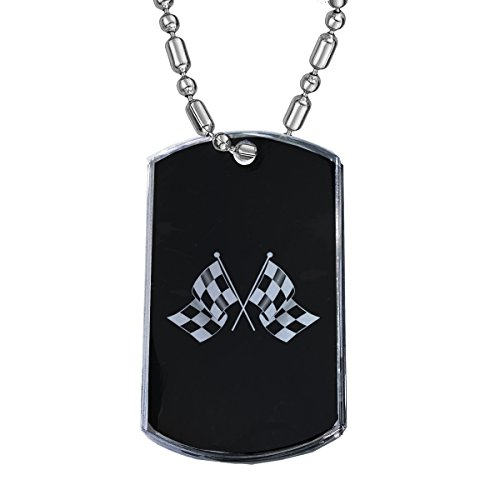 (Sunshine Cases Racing Flag - Military Dog Tag Luggage Tag Key Chain Metal Chain Necklace)