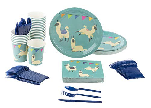 Juvale Llama Party Supplies – Serves 24 – Includes Plates, Knives, Spoons, Forks, Cups Napkins. Perfect Llama Birthday Party Pack Kids Llama Animal Themed Parties.