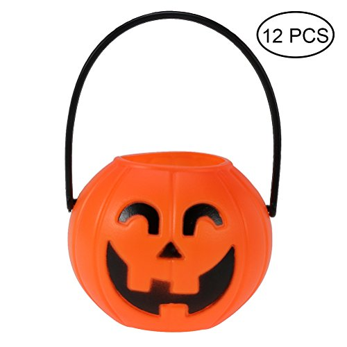 (LUOEM Pumpkin Candy Holder Trick-or-treat Halloween Candy Bucket Prank Tool without Light Halloween Decorations 12pcs 7cm (Curved)