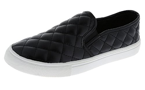 Slip on Quilted Fashion Sneakers White Sole Shoes Closed Toe, Black, 7