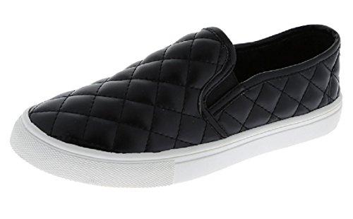 W Collection Slip On Zapatillas De Deporte Acolchadas Zapatos De Suela Blanca Closed Toe Black