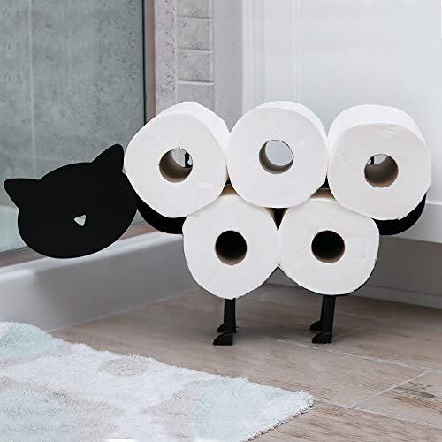 East World Cat Toilet Paper Holder Free Standing and Wall Mount Toilet Tissue Storage Stand - Roll Holders fit 8X Rolls, and So Adorable! Black Cat Gifts, Bathroom Accessories, and Fixtures