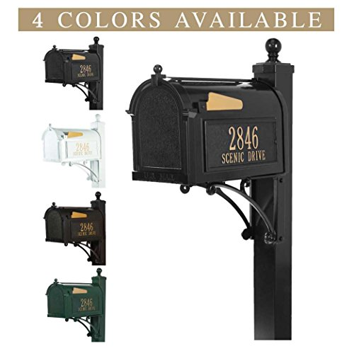 Personalized Whitehall Capitol Mailbox with Side Address Plaques & Post Package (4 colors available) (Deluxe Whitehall Package Mailbox)