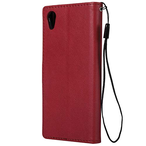 Sony Xperia XA1 Wallet Case, CUSKING Premium Leather Cover with Silicone Inner Case for Sony Xperia XA1 [Card Holder] [Magnetic Closure] [Hand Strap] - Red by CUSKING (Image #2)