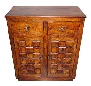 Shilpi Hand Caved Tails Design Decor Double Door & Drawer Cabinet Provincial Teak Finish
