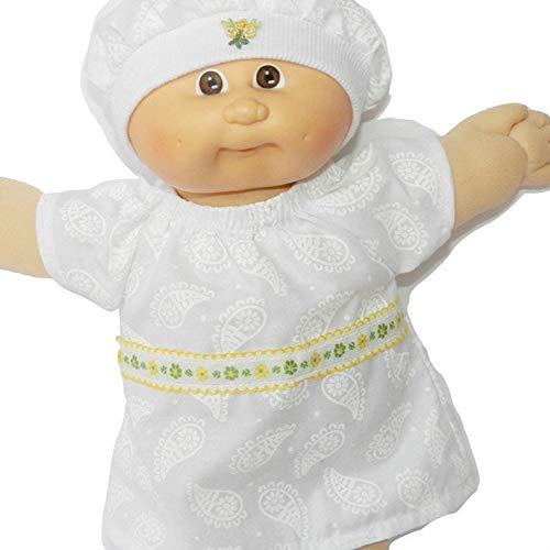 Cabbage Patch Doll Clothes Fits 14 Inch Doll or Preemie White Yellow Dress and Hat