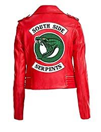 Classic Outfitters Womens Red Faux Leather Jacket with Snake Logo