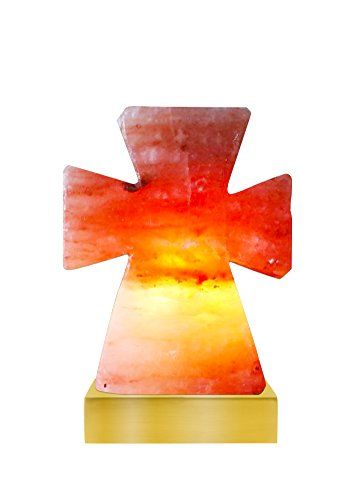 EPHVODI Natural Crystal Hand Carved Himalayan Cross Salt Lamp 8-10 lbs with Dimmer Switch,Gold Base and Bulb