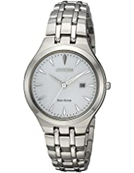 Citizen Womens Eco-Drive Quartz Stainless Steel Casual Watch, Color:Silver-Toned (Model: EW2490-55A)