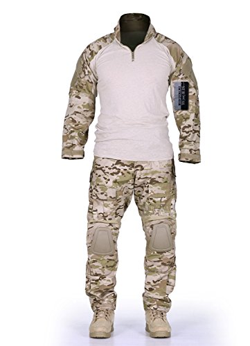 ZAPT Combat Gen3 Tactical Uniform Men Military Shirt and Pants with Knee Elbow Pads for Airsoft Paintball BDU Camouflage Apparel (Multicam Arid, L)