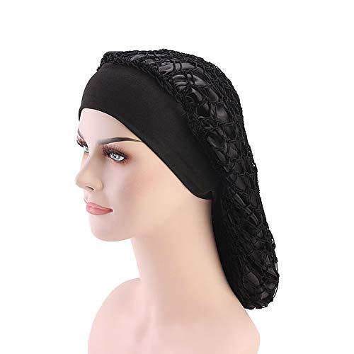 - DuoZan Vintage Elastic Wide Band Snood Bonnet Double Layered Hair Net Night Sleep Hat Crocheted Slouchy Beanie (Black)