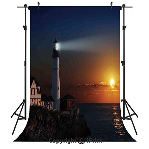 (Lighthouse Decor Photography Backdrops,Portland House at Dawn Rocks Houses Fences Lamp Image Navigation,Birthday Party Seamless Photo Studio Booth Background Banner 10x20ft,)