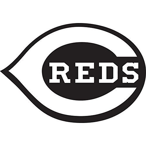 NBFU DECALS MLB Cincinnati Reds Logo (Black) (Set of 2) Premium Waterproof Vinyl Decal Stickers for Laptop Phone Accessory Helmet CAR Window Bumper Mug Tuber Cup Door Wall Decoration
