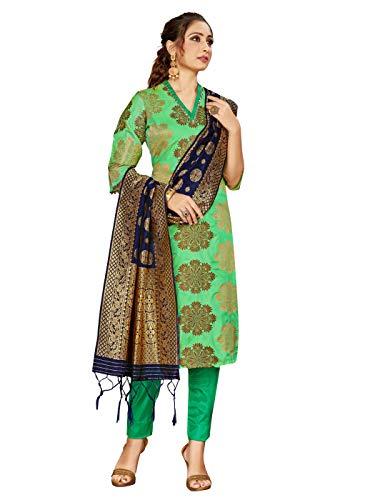 Indian Pakistani Readymade Women's Salwar Kameez Banarasi Art Silk Woven Suit with Silk Dupatta || Stitched Dress