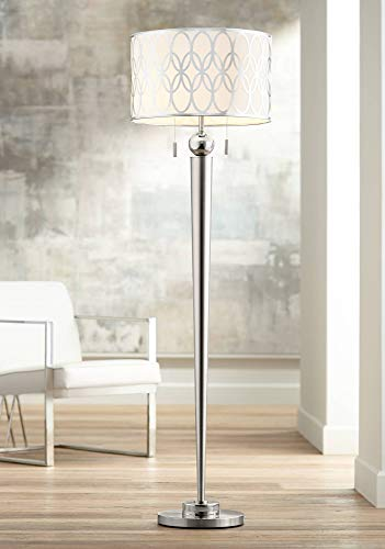Spyra Modern Floor Lamp Brushed Steel Metal White Linen Drum Shade with Silver Metal Ring Pattern for Living Room - Possini Euro Design
