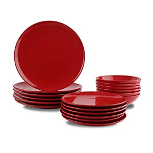 AmazonBasics 18-Piece Stoneware Dinnerware Set – Fire Engine Red, Service for 6