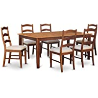 East West Furniture HENL5-BRN-C 5-Piece Dining Table Set