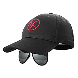 KENTKING Unisex Baseball Hat Sunglasses 2-IN-1 Cap with Adjustable Flip Wrap Over Mirrored Polarized Sunglasses for Fishing/Golf/Outdoor Sport (Black)